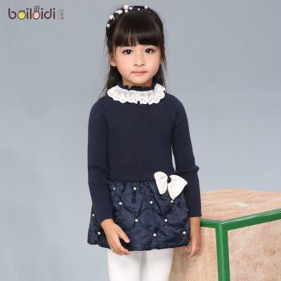 女童毛衣连衣裙2015新款儿童中大童纯色蝴蝶结花边领接拼装贝蕾地怎么