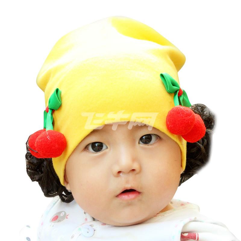 朗宝尼尔婴儿羊毛绒磨毛帽子秋冬季 女宝宝假发帽儿童