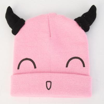 苏可儿婴儿帽子春秋季套头帽宝宝帽子男女童帽可爱小牛角冬季毛线帽