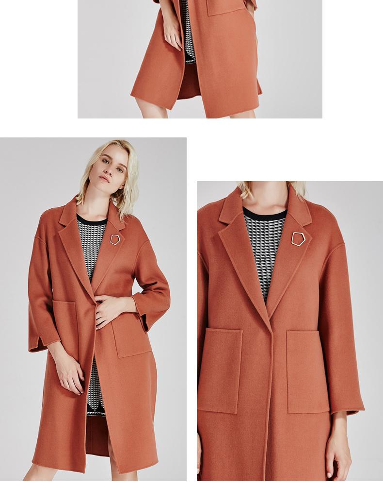 南极人冬季女装大衣直身型侧开叉时尚纯手工双面绒大衣长款时尚外套(JDR17-53)N103正品