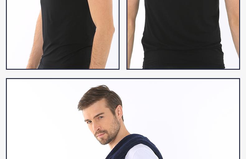 浪莎夏季男士纯色短袖T恤休闲工字背心木纤维舒适亲肤薄款打底衫报价