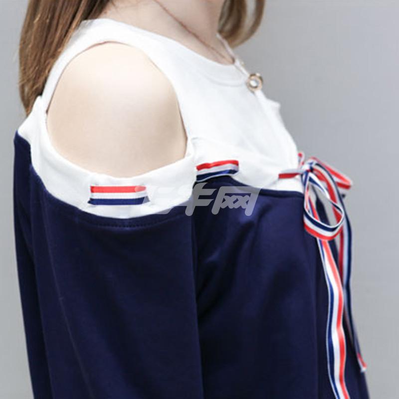 韩衣兜 春装装新款大码女装运动休闲拼接织卫衣带胖mm