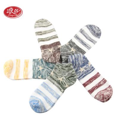 浪莎 5双装袜子男女情侣短袜船袜精梳棉运动薄款透气吸汗浅口隐形袜 休闲棉袜价格