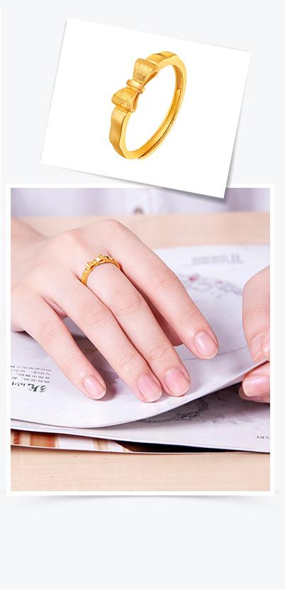周大福珠宝首饰forever love足金黄金戒指(工费:58计价)f151455