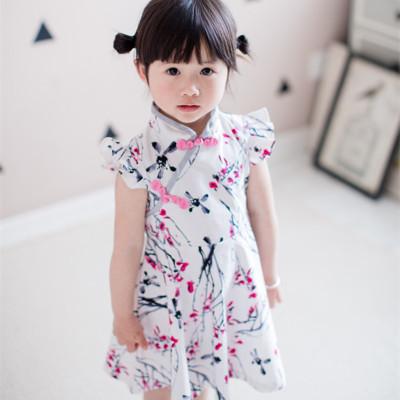 佳米聪童装 中国风 小立领水墨画盘扣女童连衣