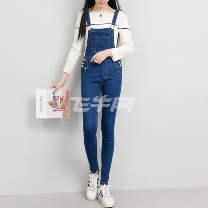 陶伊新款修身显瘦弹力韩版休闲提臀背带裤牛仔裤