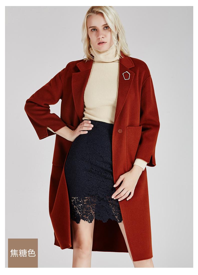 南极人冬季女装大衣直身型侧开叉时尚纯手工双面绒大衣长款时尚外套(JDR17-53)N103报价