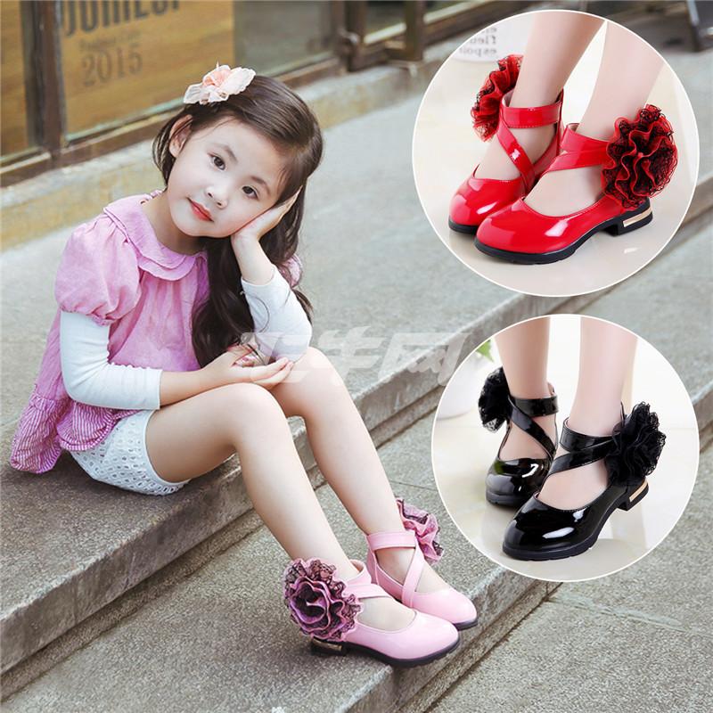 优优1点女童秋鞋大童皮鞋春款潮小女孩公主鞋儿童鞋子