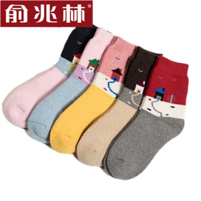 俞兆林 5双装袜子女秋冬款时尚女士田园风羊毛女袜 甜美可爱女羊毛袜