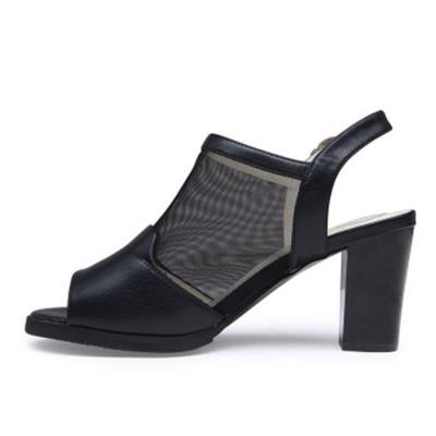 柏木凉鞋2015夏季新款鱼嘴网纱粗跟名典高跟女鞋电视柜图片