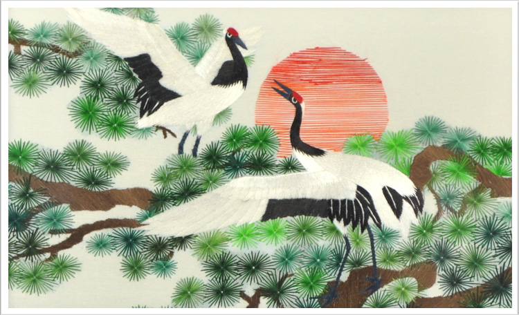【寓   意】:松树向来是长寿的植物,仙鹤通常与仙人联系在一起,也是