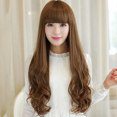 美元素假发 女 齐刘海大波浪长卷发长发型假头发 蓬松