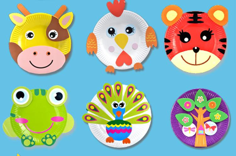 儿童手工diy制作材料包纸盘子画幼儿园创意