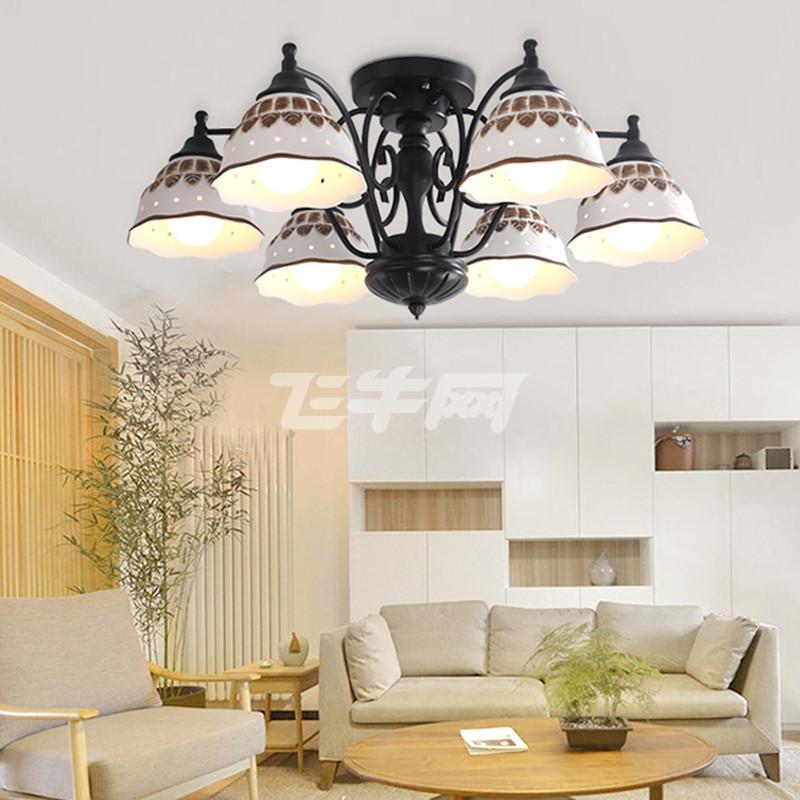 铁艺陶瓷客厅灯 餐吊灯 房间灯 卧室灯 欧美田园风 简欧风格吸顶灯图片