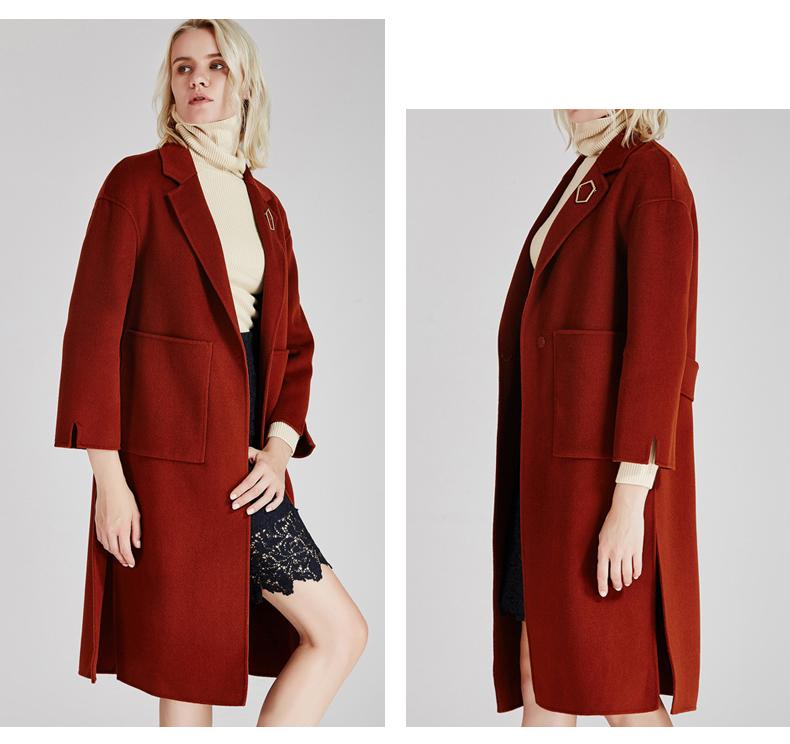 南极人冬季女装大衣直身型侧开叉时尚纯手工双面绒大衣长款时尚外套(JDR17-53)N103评价