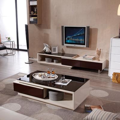 帝安尼 现代简约时尚 钢化玻璃茶几电视柜组合 钢琴烤漆