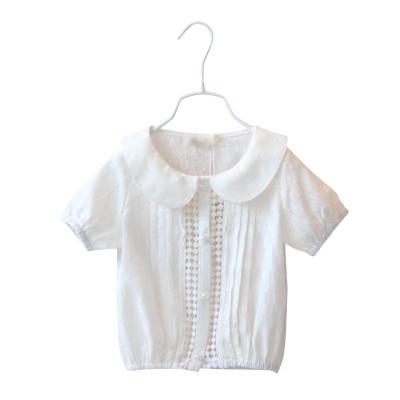 女童娃娃领镂空花边衬衫3019