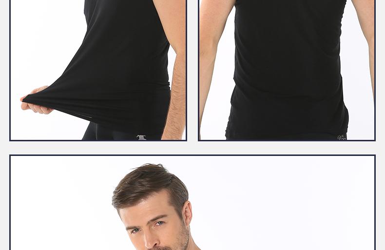 浪莎夏季纯色男士T恤木纤维短袖休闲工字背心舒适亲肤薄款打底衫产地