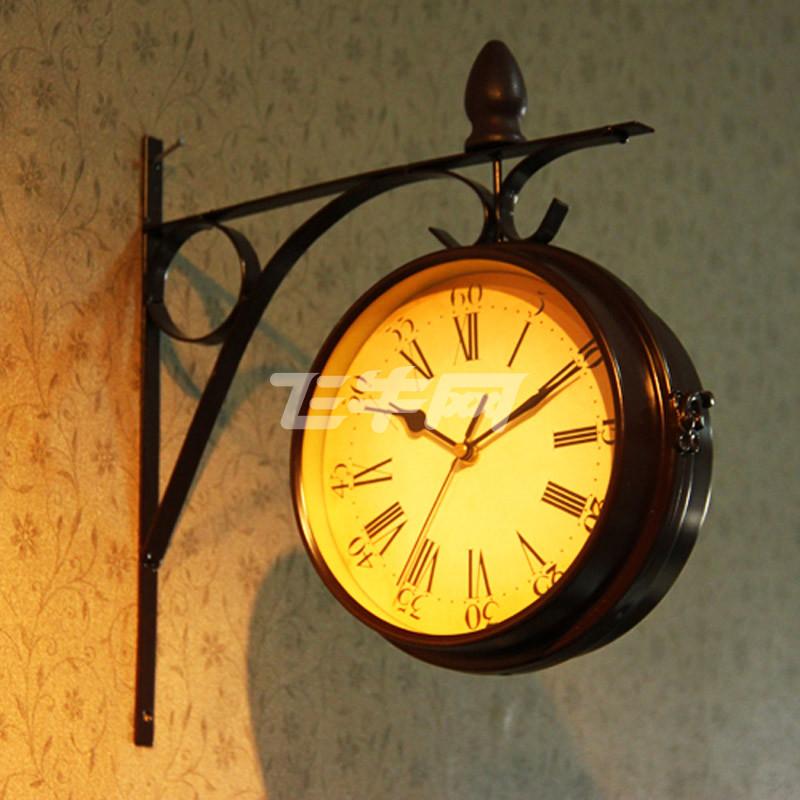 红兔子欧式复古创意挂钟创意钟表时尚挂钟 双面侧挂 款式随机