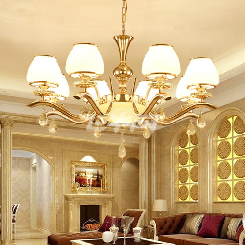 美吉特 现代简约欧式金色水晶吊灯客厅房间卧室餐厅房间吸顶灯 玻璃