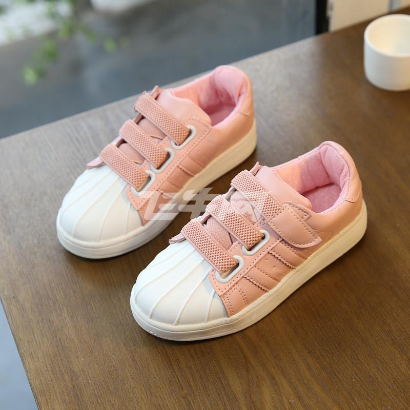 小猪彼特2017春夏新款儿童运动鞋女童鞋贝壳头板鞋男童网鞋宝宝小白鞋