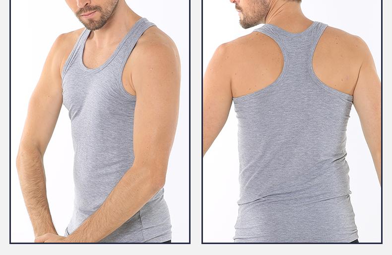 浪莎夏季男士纯色短袖T恤休闲工字背心木纤维舒适亲肤薄款打底衫图片