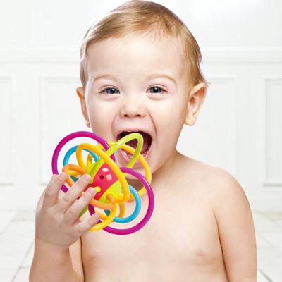多乐宝贝 曼哈顿球牙胶摇铃宝宝固齿器幼儿乳牙训练手