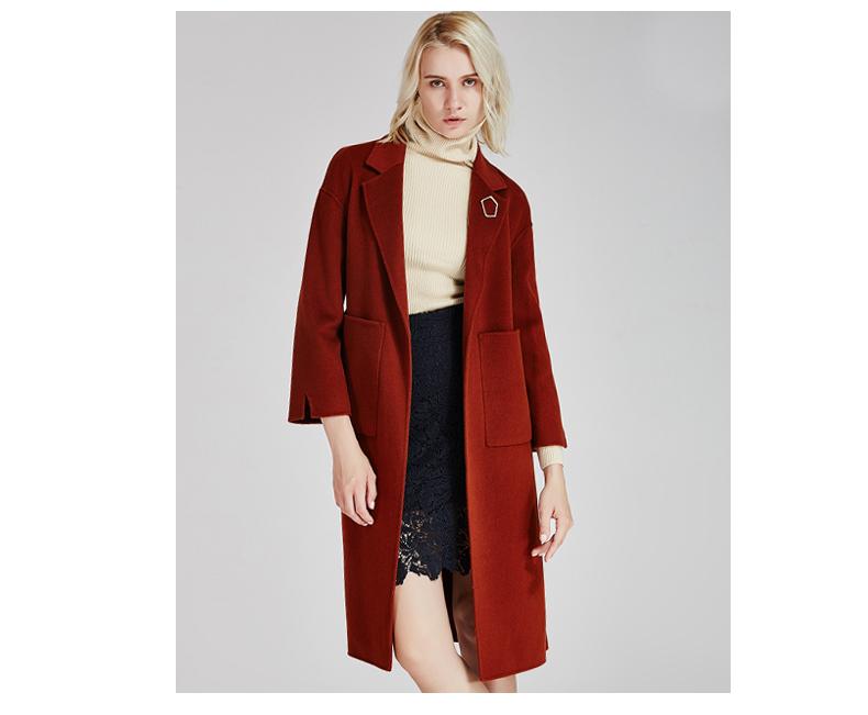 南极人冬季女装大衣直身型侧开叉时尚纯手工双面绒大衣长款时尚外套(JDR17-53)N103图片