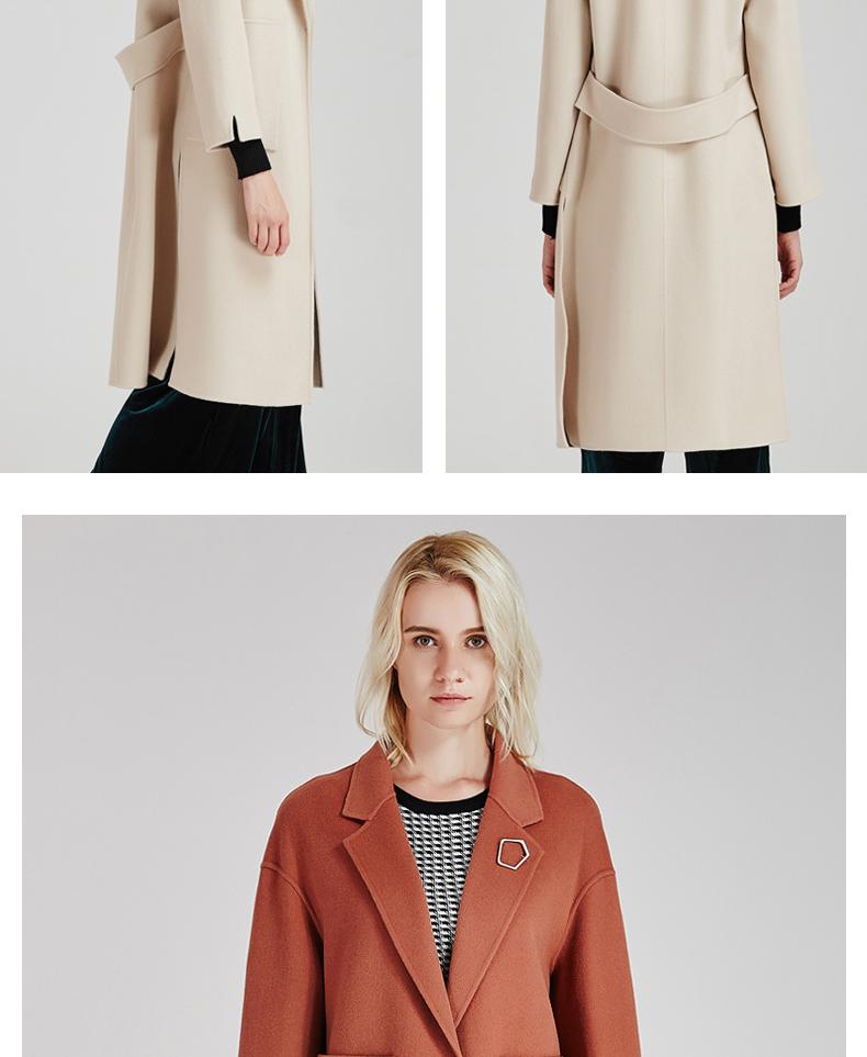 南极人冬季女装大衣直身型侧开叉时尚纯手工双面绒大衣长款时尚外套(JDR17-53)N103价格