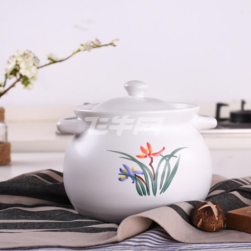 家用砂锅 手绘兰花焖烧煲 砂锅炖锅陶瓷 燃气明火耐热煲汤砂锅炖汤