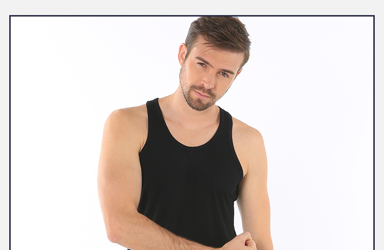 浪莎夏季男士纯色短袖T恤休闲工字背心木纤维舒适亲肤薄款打底衫低价