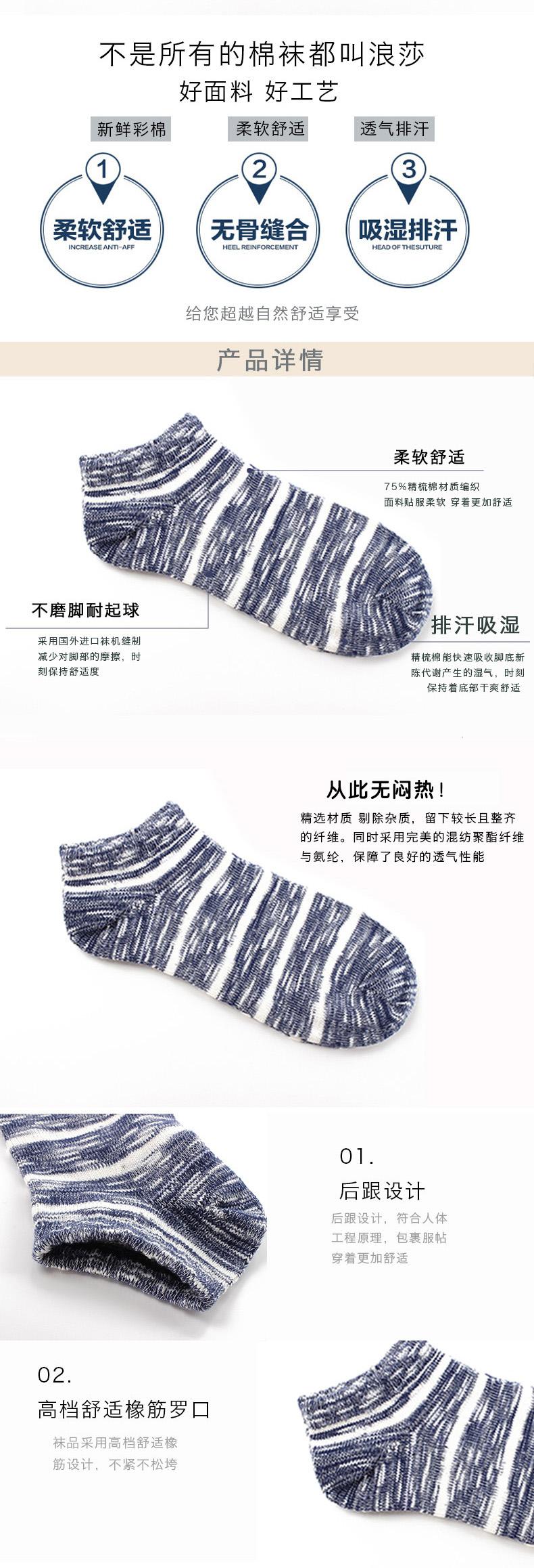 4双装浪莎男士夏季低帮浅口船袜条纹运动棉袜薄款透气短筒袜子日系潮流棉袜新品